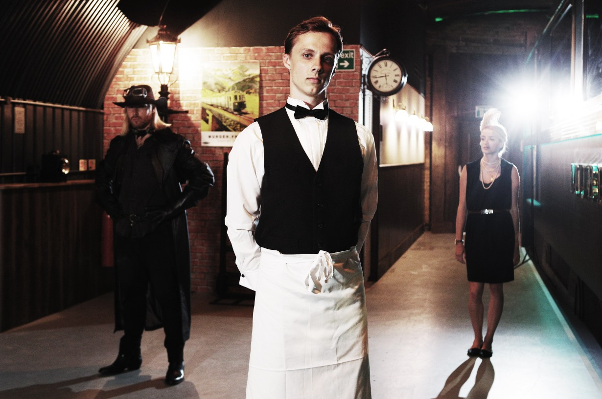 Actors from The Murder Express immersive dining experience by Funicular productions